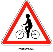 Panneau A21 Débouché de cyclistes venant de droite ou de gauche.