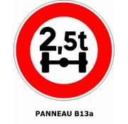Panneau B13a Limitation de poids par essieu