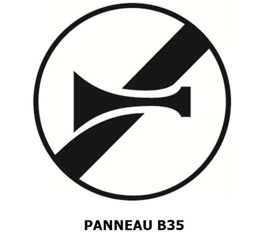 Panneau B35 fin d'interdiction de klaxonner