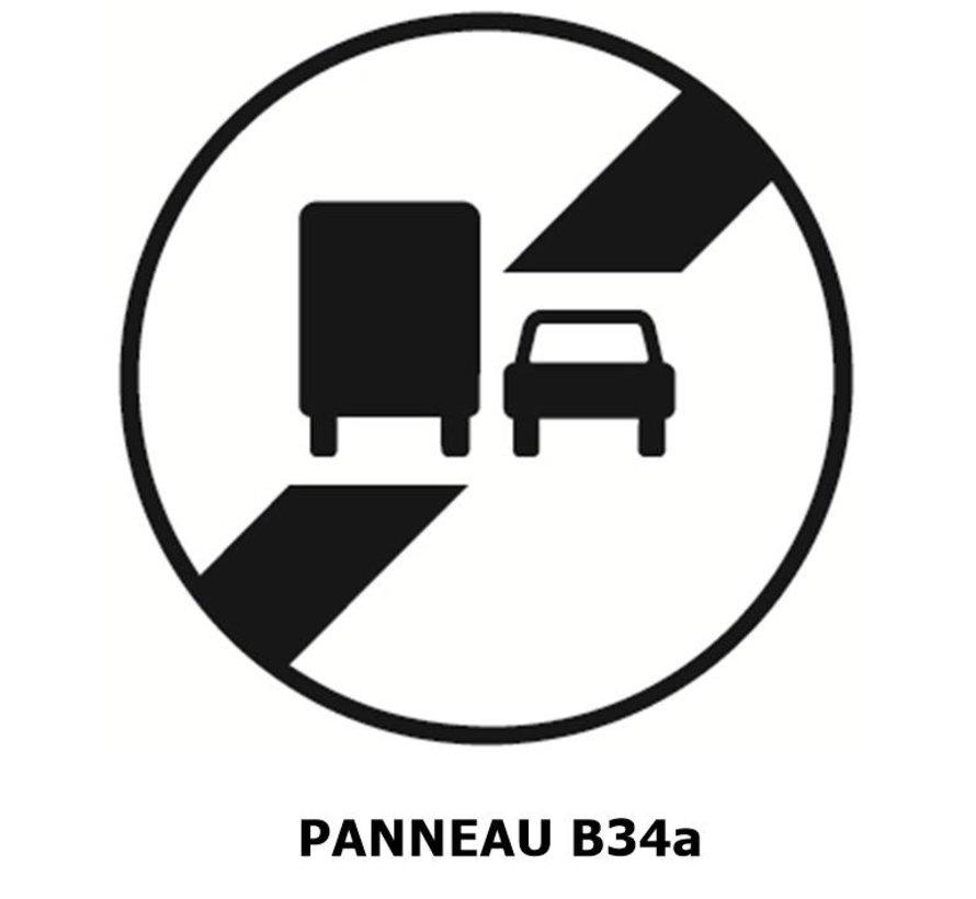 Panneau B34a fin d'interdiction de dépasser