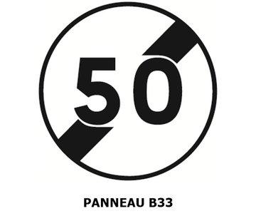 Panneau B33 fin de limitation de vitesse