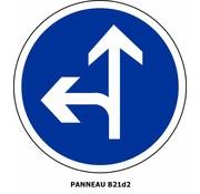 Panneau B21d2 Obligation d'aller à gauche ou aller tout droit