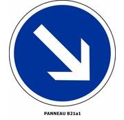 Panneau B21a1 Contournement par la droite