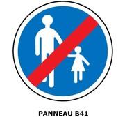 Panneau B41 fin d'un chemin obligatoire pour piétons