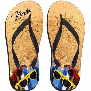 Slippers strand met naam