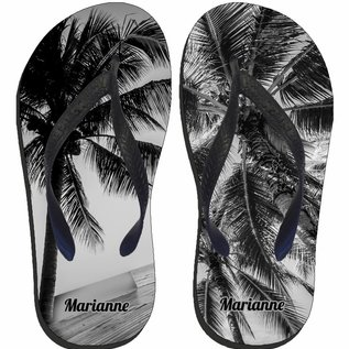 Palmboom slipper zwart wit met naam