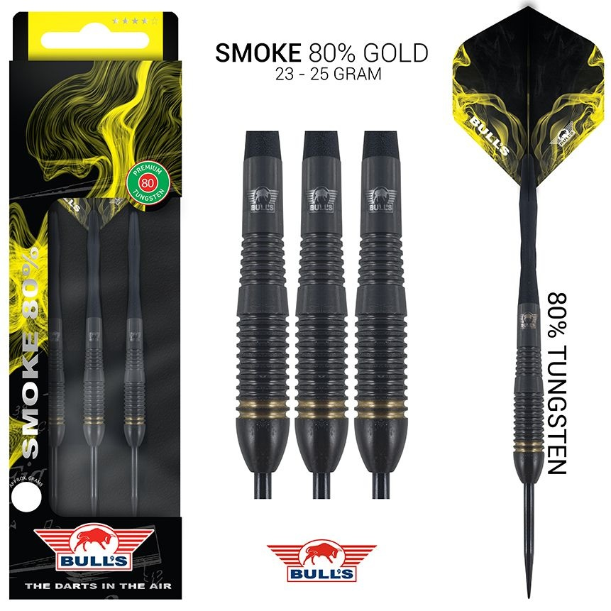 Bull's Darts: The darts in the air! Bull's Smoke 80% Tungsten Gold