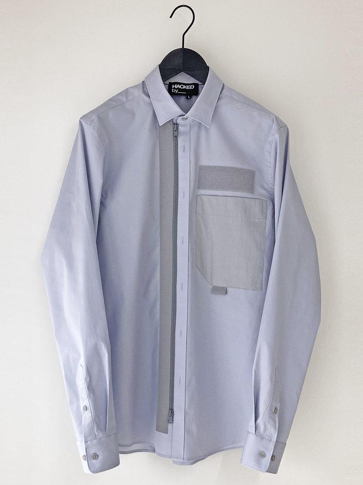 Upcycled zipped-up shirt_pale grey