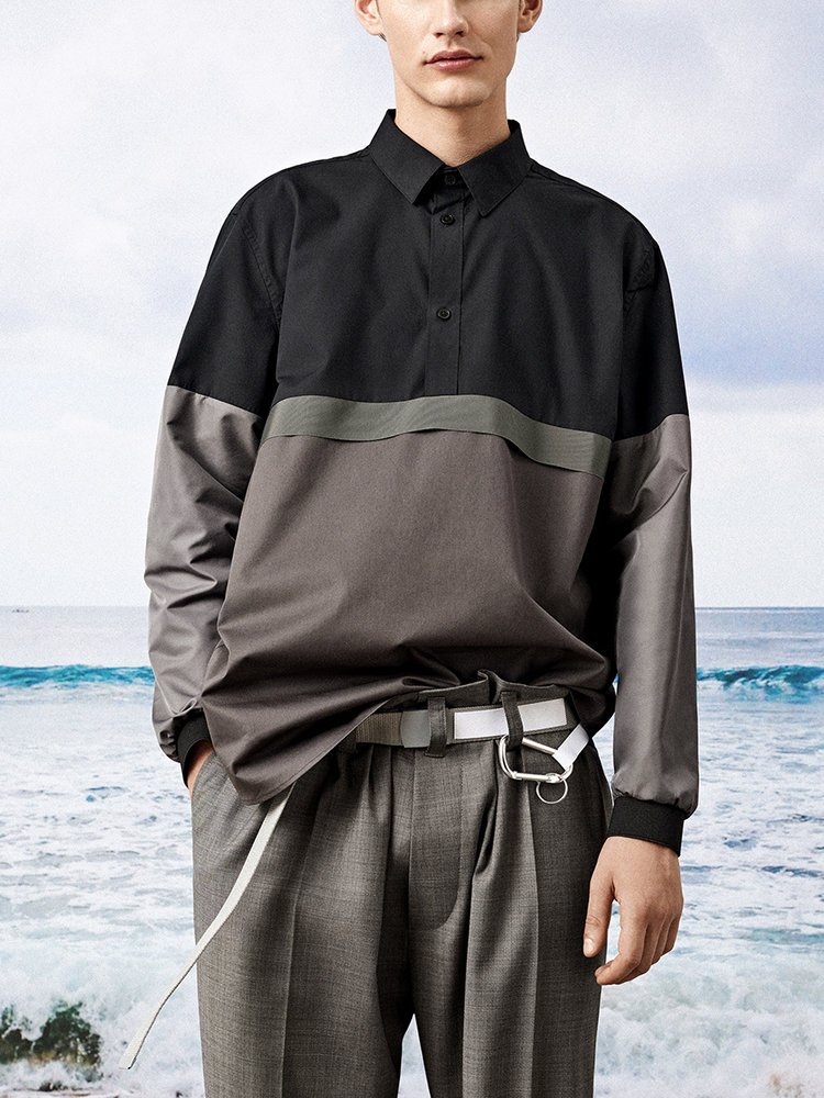 Hacked by__ Panelled anorak shirt