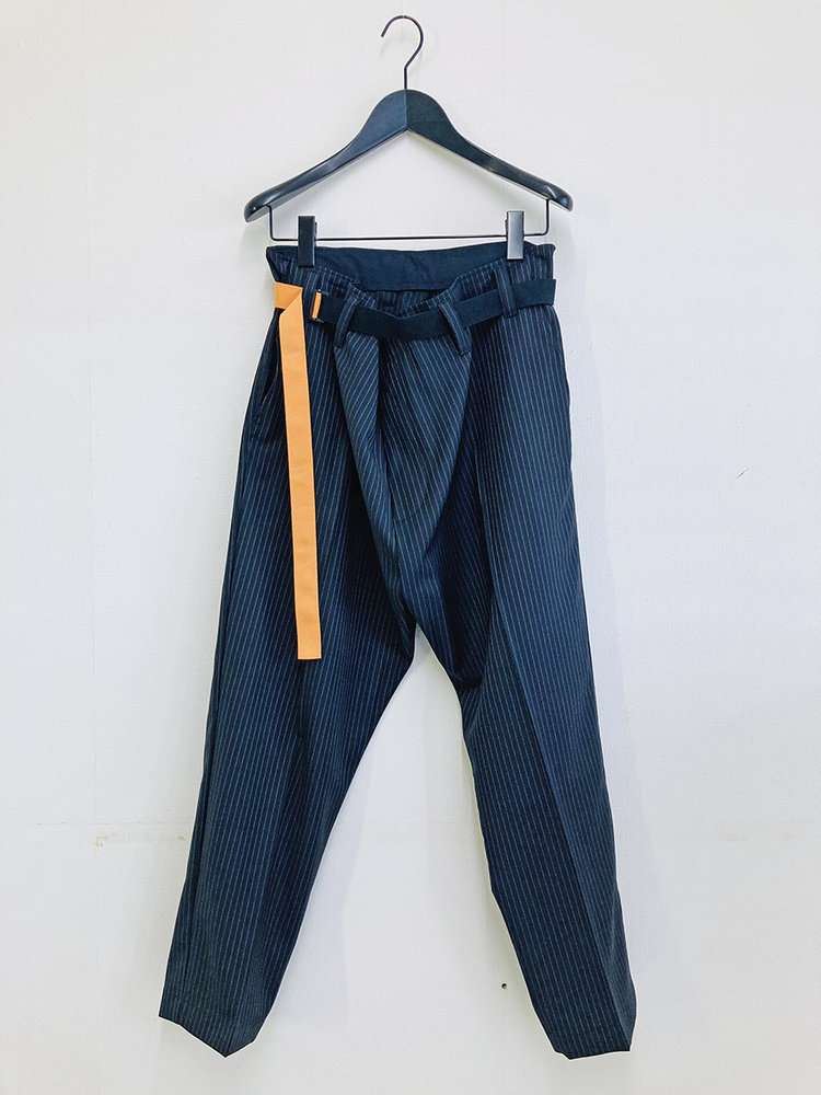 Hacked by__ Belted wrapped pants | Pinstripe