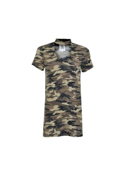 LA SISTERS Choker Camo T-shirt Dress