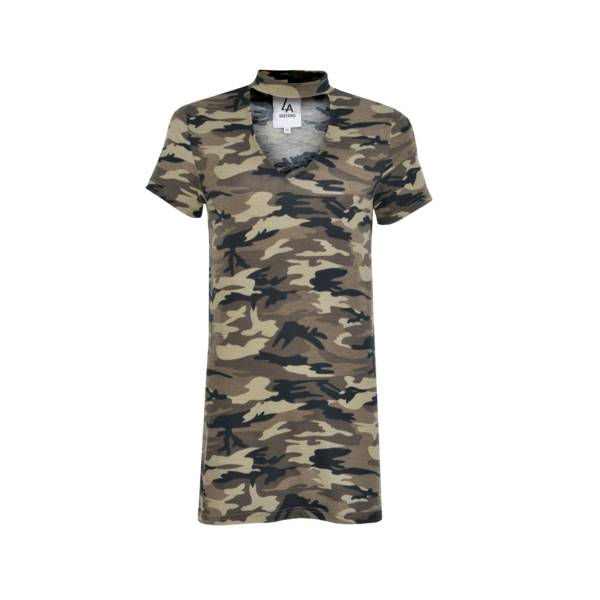 LA SISTERS Choker Camo T-shirt Dress LA SISTERS LA Sisters|Tops|Jurken & Rokken|Party Collectie