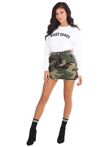 LA SISTERS Mini Camouflage Skirt