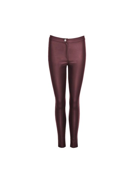 LA SISTERS Coated Tube Pants bordeaux