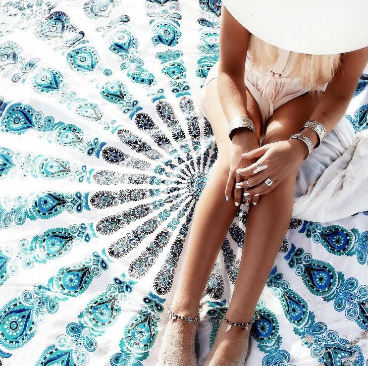 Fliex Roundie Beach Towel Blue