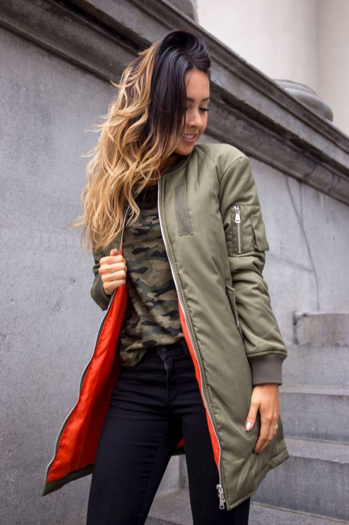 EIGHT PARIS Long bomber Khaki