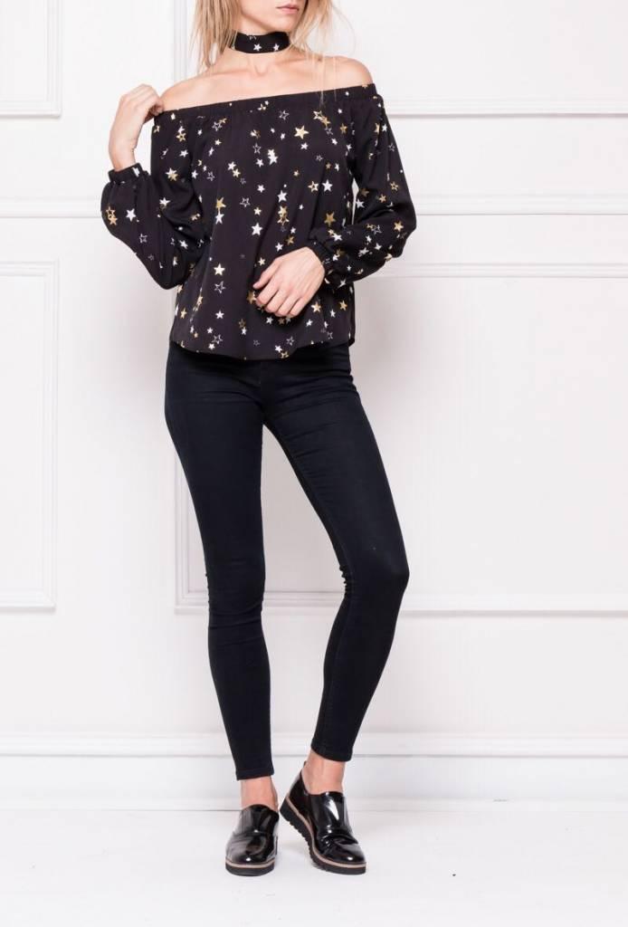 EIGHT PARIS Sterrenmotief blouse zwart