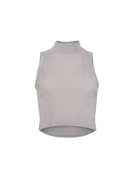 LA SISTERS Top Satin Ribbed Grey
