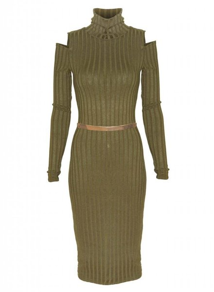 EIGHT PARIS 'Cut out' jurk Khaki