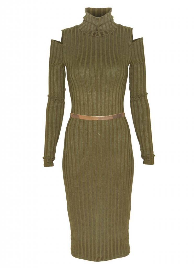 EIGHT PARIS 'Cut out' jurk Khaki