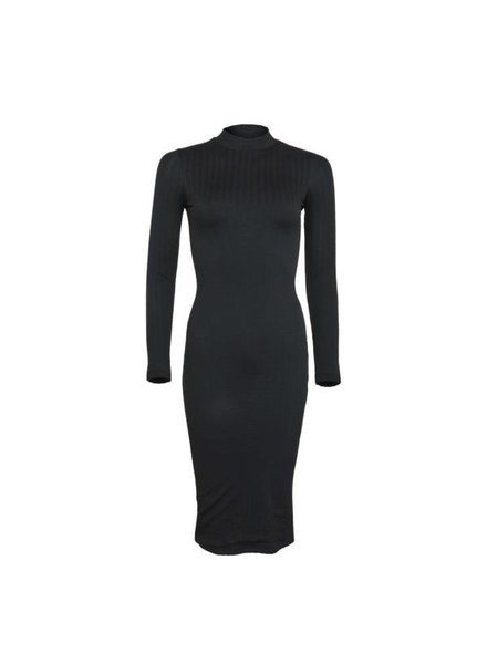 LA SISTERS Midi Long Sleeve Cable Dress Zwart