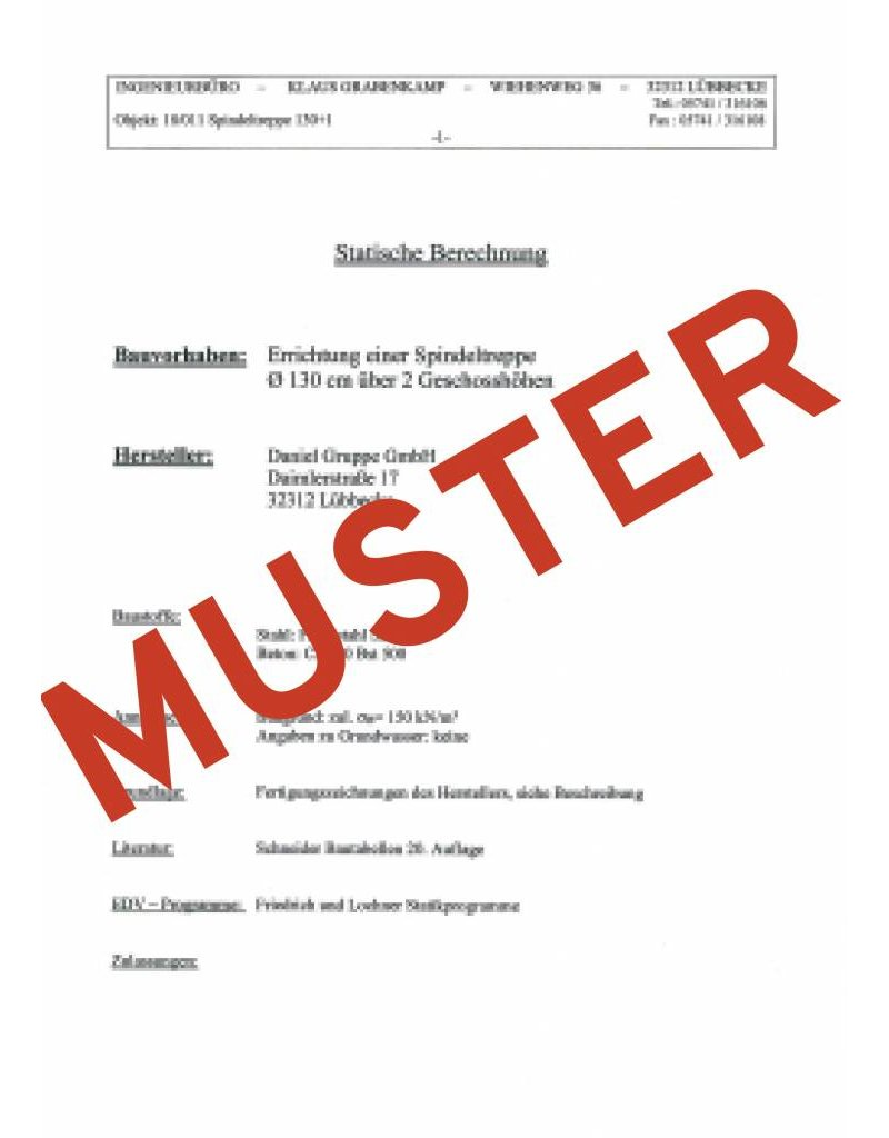 SCALANT Statiknachweis für Außenspindeltreppe SCARVO XXL 160