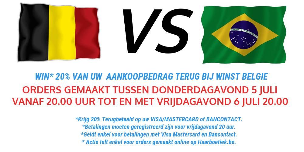 Win 20% terug met Belgie - Brazilie