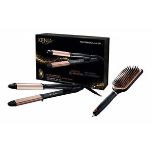 XENIA Keratin & Argan Oil Infusion Hair Straightener + Brush