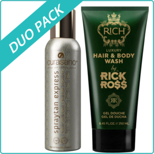 Curasano Spray tan, Tanning Spray, 200 ml + Rick Ross Hair & Body Wash, 250 ml