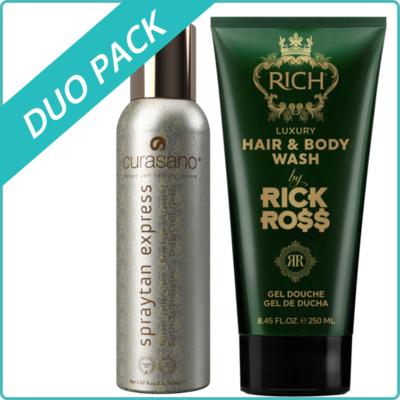 Curasano Spraytan, Tanning Spray, 200ml + Rick Ross Hair & Body Wash, 250ml