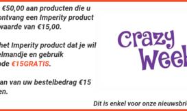 15€ Gratis aan Imperity producten  bij uw bestellng