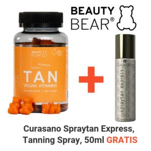 BEAUTY BEAR Tan Vitamins, 60 Gummies + Curasano Tanning Spray, 50ml Free
