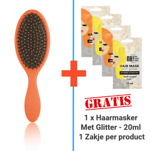 RAINBOW Ontwarborstel Oranje + 1 x 20ml Glitter Haarmasker
