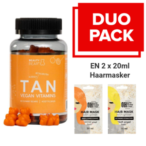 BEAUTY BEAR Tan Vitamines, 60 Gummies + 2 x 20ml Haarmasker