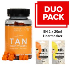 BEAUTY BEAR Tan Vitamins, 60 Gummies + 2 x 20ml Hair Mask