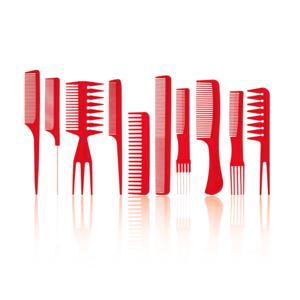 HBT 10 Piece Beard And Hair Comb Set - RED