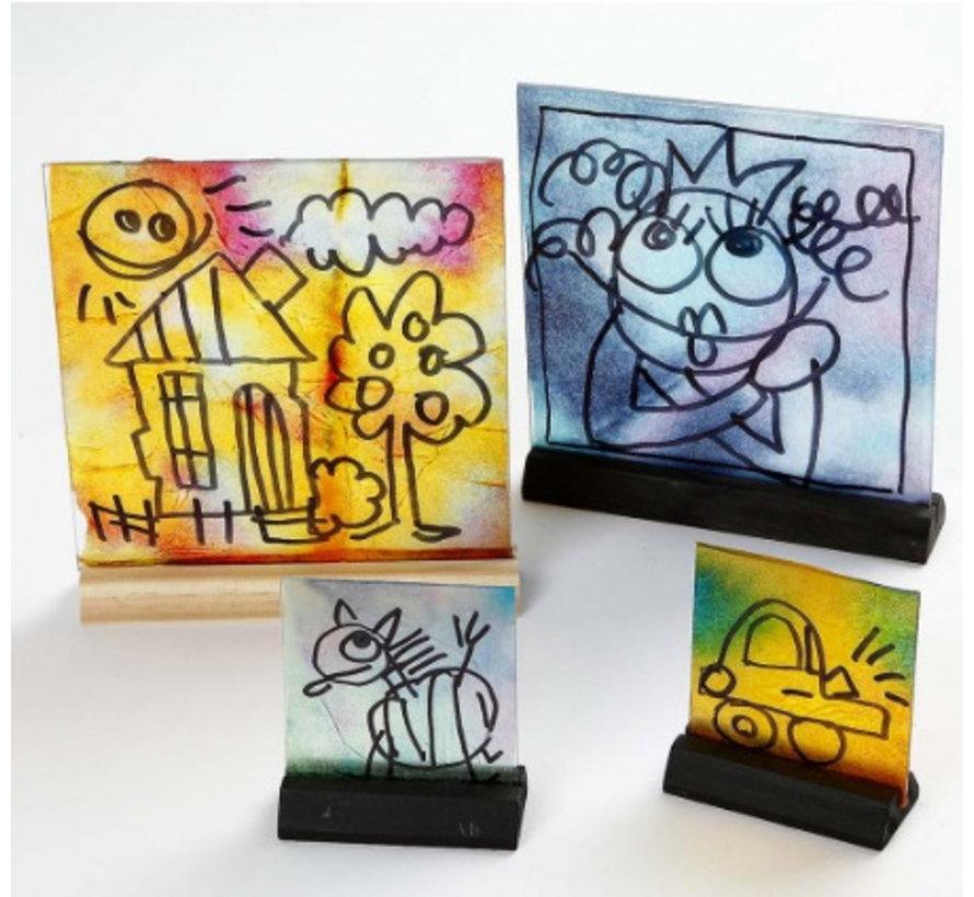 Glazen plaat met houder