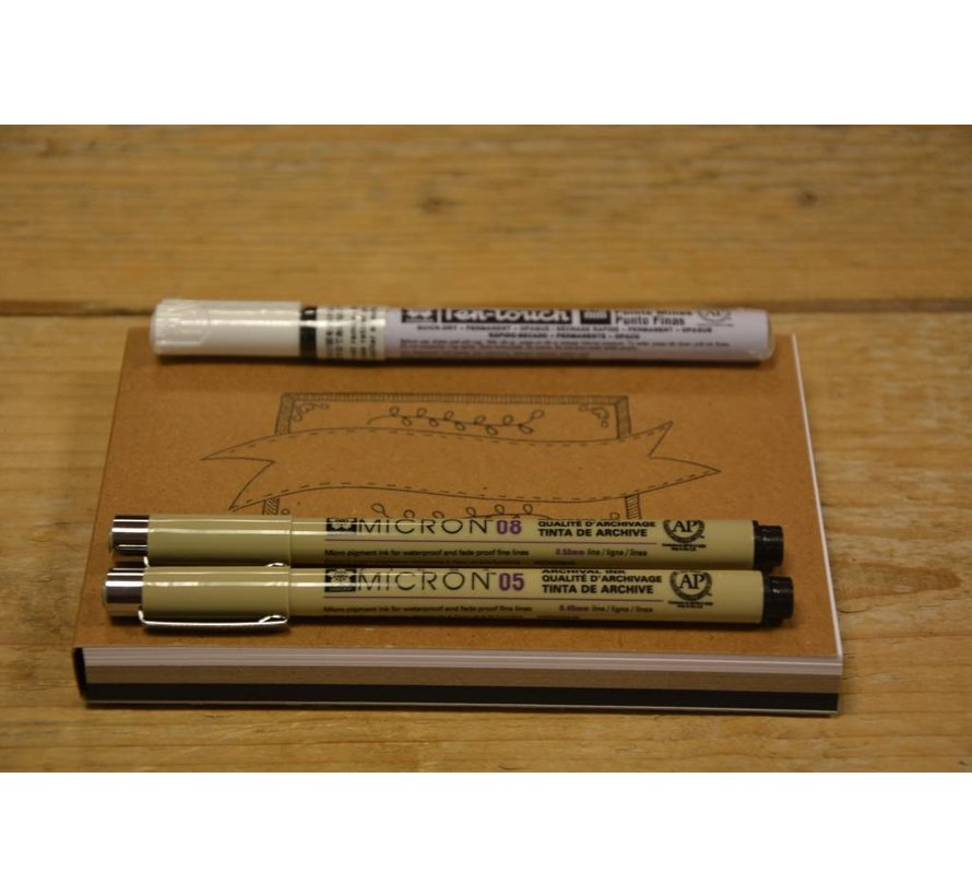 Oefenblok Handlettering A6 + 3 pennen