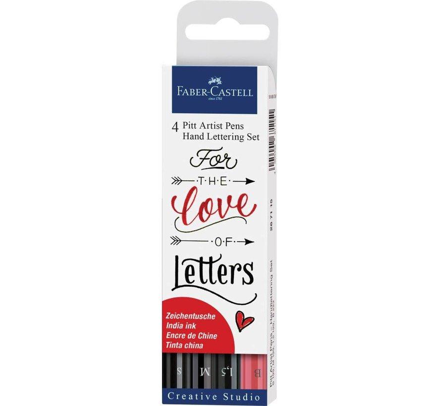 Pitt artist pens - handlettering kit zwart-rood