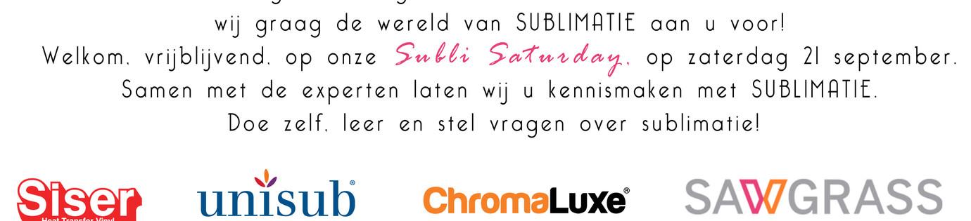 Subli Saturday op zaterdag 21 september 2019