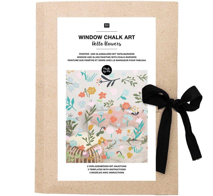 Chalk Art Sjabloon: HELLO FLOWERS