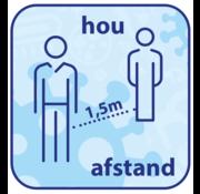 "(Vloer)sticker afgerond ""HOU AFSTAND"""