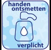 """(Vloer)sticker afgerond """"HANDEN ONTSMETTEN"""""""
