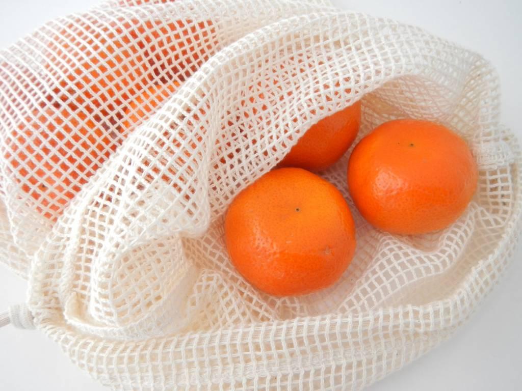 Groente- of fruitzakje M - 30x25cm - katoenen mesh