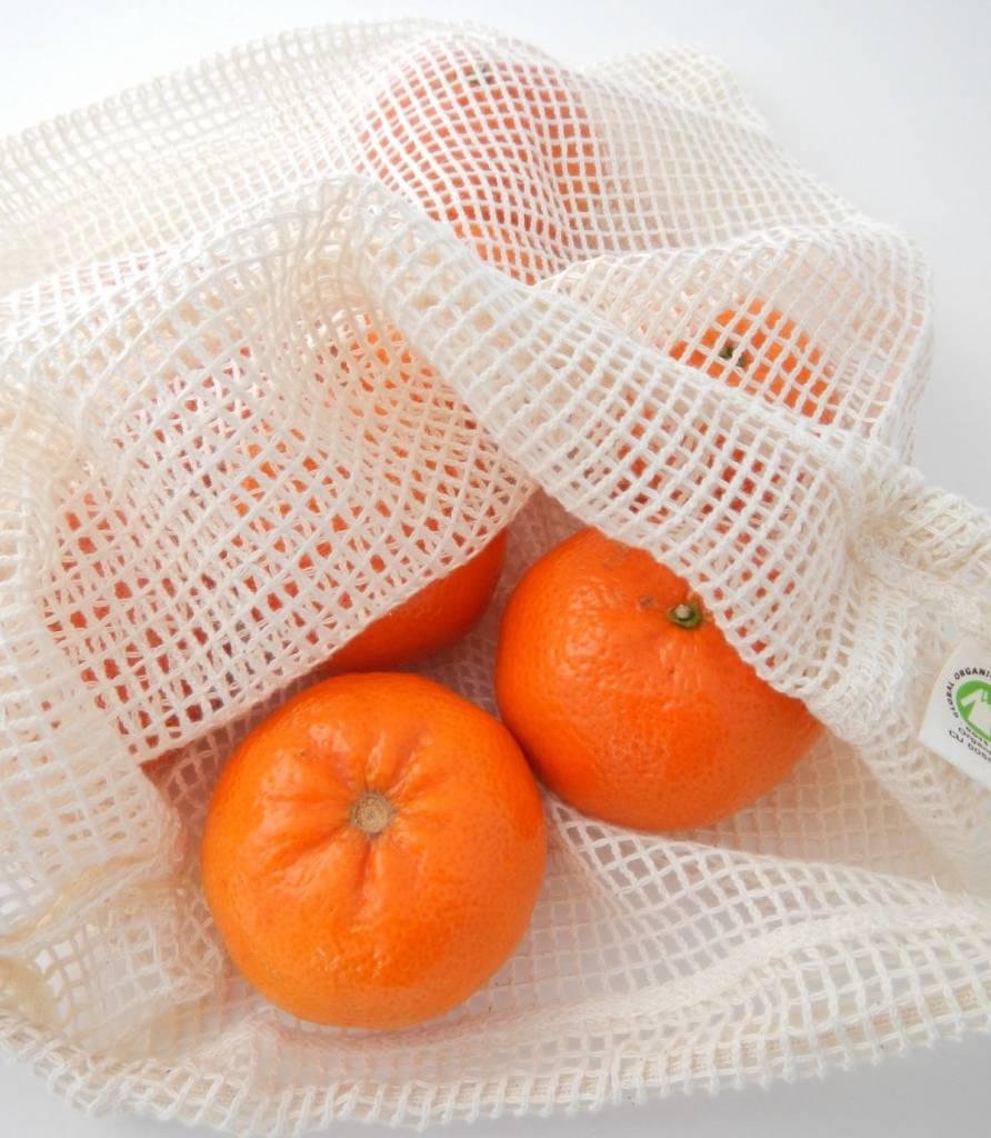 Groente- of fruitzakje L - 40x30cm - katoenen mesh