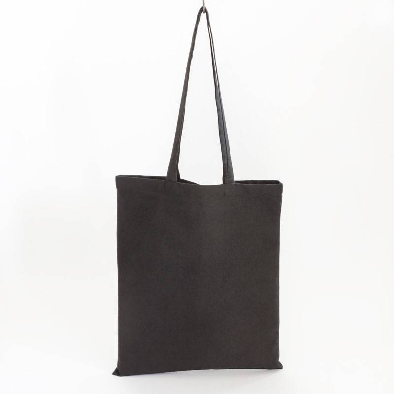 Tote met lang hengsel - zwart - 38x42cm