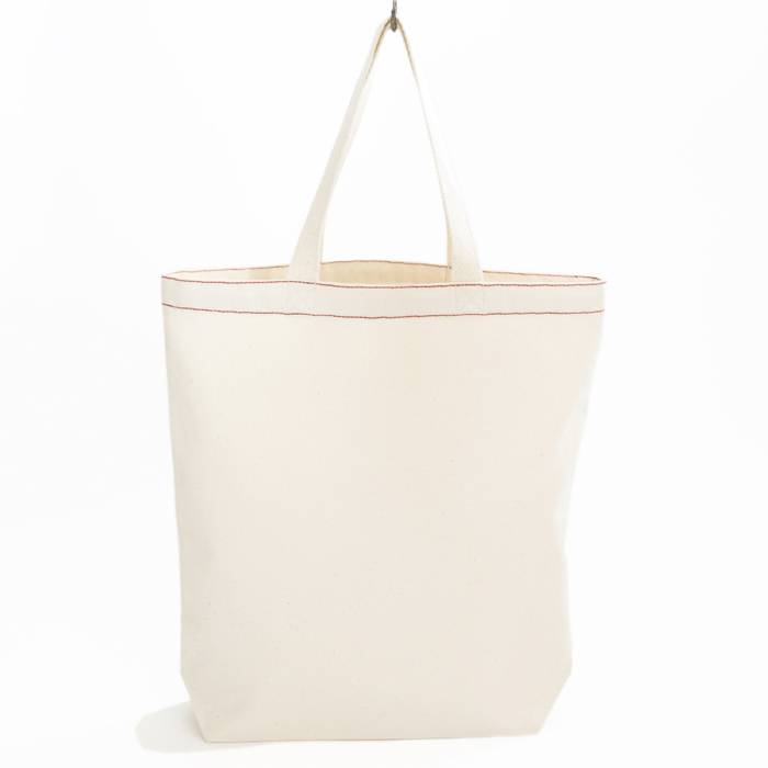 City bag met rood contraststiksel - natural white - 38x41cm