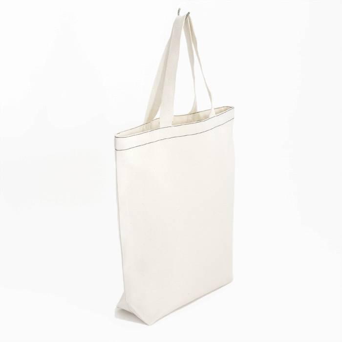 City bag met zwart contraststiksel - natural white - 38x41cm