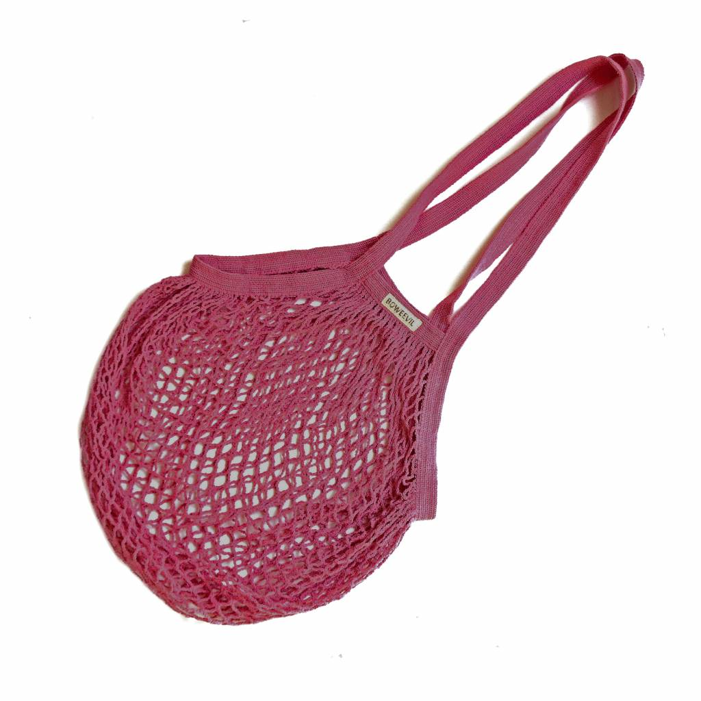Granny's string bag with long handles - fuchsia