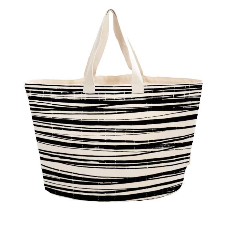 Beach bag  'wrapping stripes' - heavy canvas - 60x38cm